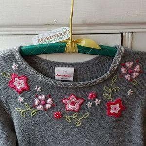 Hanna Andersson Girls Sweater Dress w/Flowers